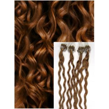 Kudrnaté micro ring vlasy, 60 cm 0,7g/pr., 50 pramenů - SVĚTLE HNĚDÉ