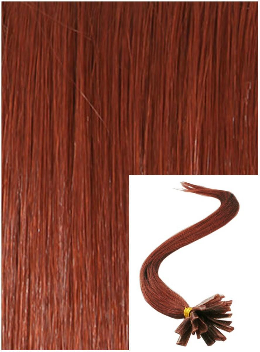 Vlasy na keratin, 50 cm 0,7g/pr., 50 pramenů - MĚDĚNÉ
