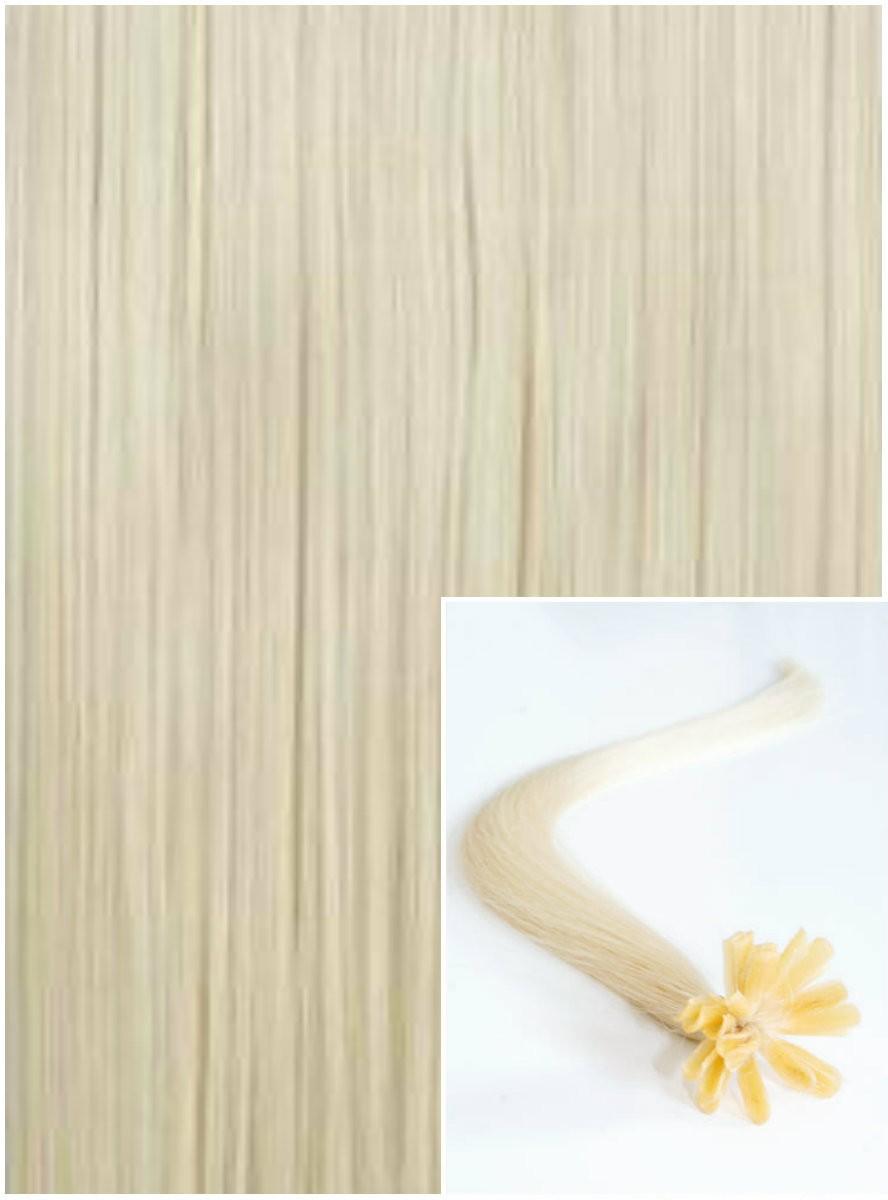 Vlasy na keratin, 60 cm 0,5g/pr., 50 pramenů - PLATINOVÉ