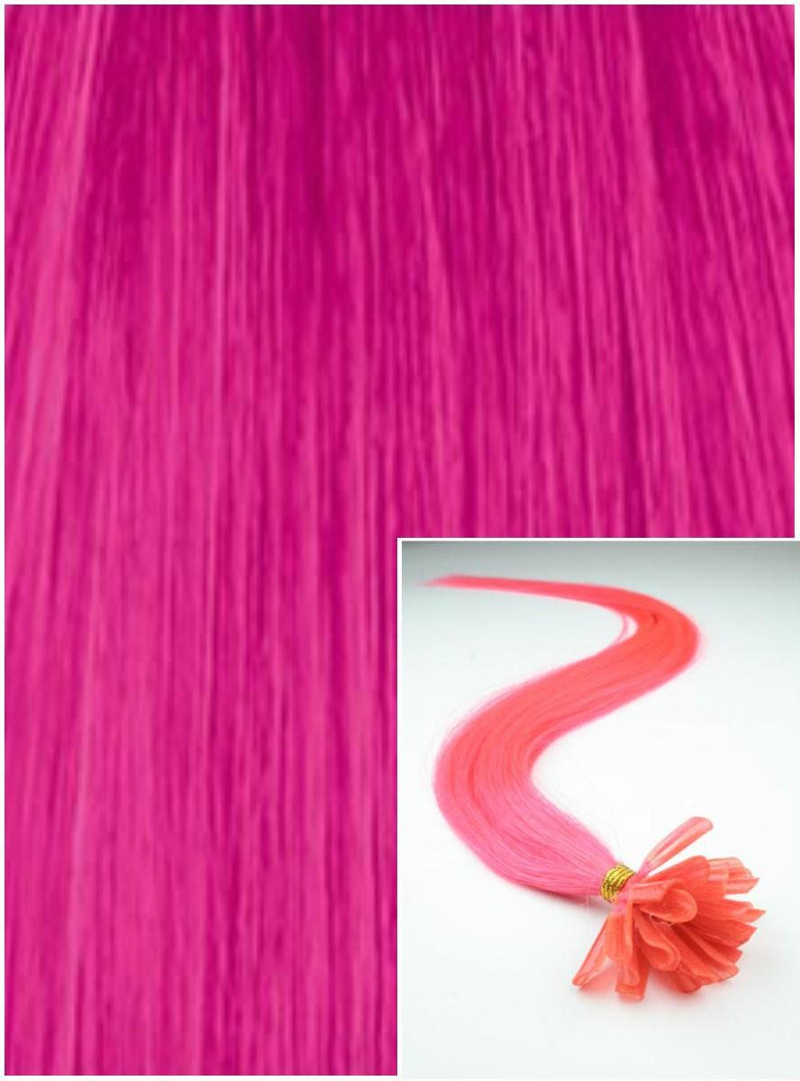 Vlasy na keratin, 60 cm 0,7g/pr., 50 pramenů - RŮŽOVÉ