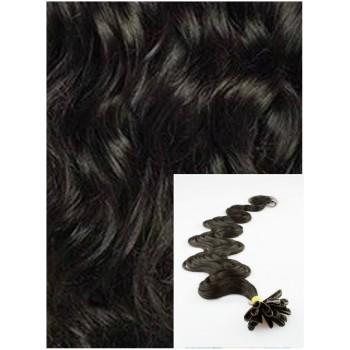 Vlnité vlasy na keratin, 60 cm 0,7g/pr., 50 pramenů -PŘÍRODNĚ ČERNÉ