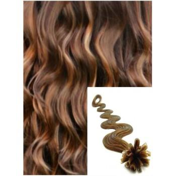 Vlnité vlasy na keratin, 60 cm 0,7g/pr., 50 pramenů - SVĚTLĚ HNĚDÉ