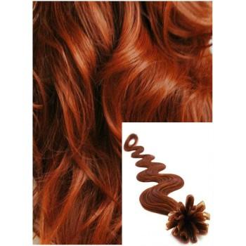 Vlnité vlasy na keratin, 60 cm 0,7g/pr., 50 pramenů - MĚDĚNÉ