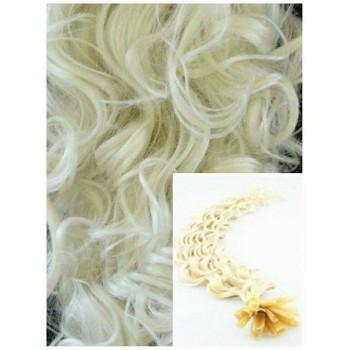 Kudrnaté vlasy na keratin, 60 cm 0,5g/pr., 50 pramenů - PLATINOVÉ