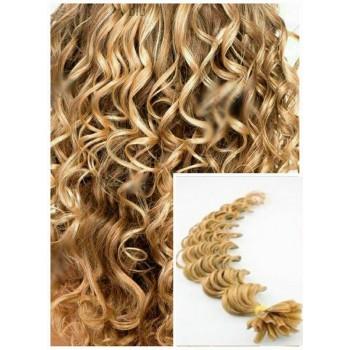 Kudrnaté vlasy na keratin, 60 cm 0,7g/pr., 50 pramenů - PŘÍRODNÍ BLOND