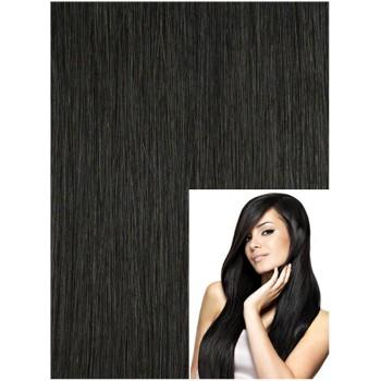 DELUXE Clip in 40cm 70g  REMY lidské vlasy - ČERNÉ