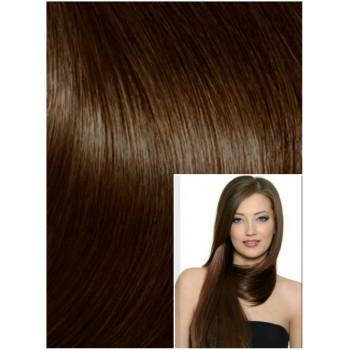 DELUXE Clip in 40cm 140g REMY lidské vlasy - STŘEDNĚ HNĚDÉ