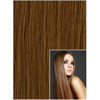 DELUXE Clip in 40cm 140g REMY lidské vlasy - SVĚTLE HNĚDÉ