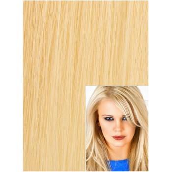 DELUXE Clip in 50cm 200g REMY lidské vlasy - NEJSVĚTLEJŠÍ BLOND