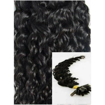 Kudrnaté vlasy na keratin, 60 cm 0,5g/pr., 50 pramenů - ČERNÉ