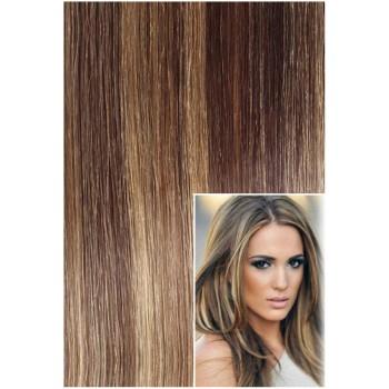 DELUXE Clip in 60cm 240g REMY lidské vlasy - TMAVÝ MELÍR