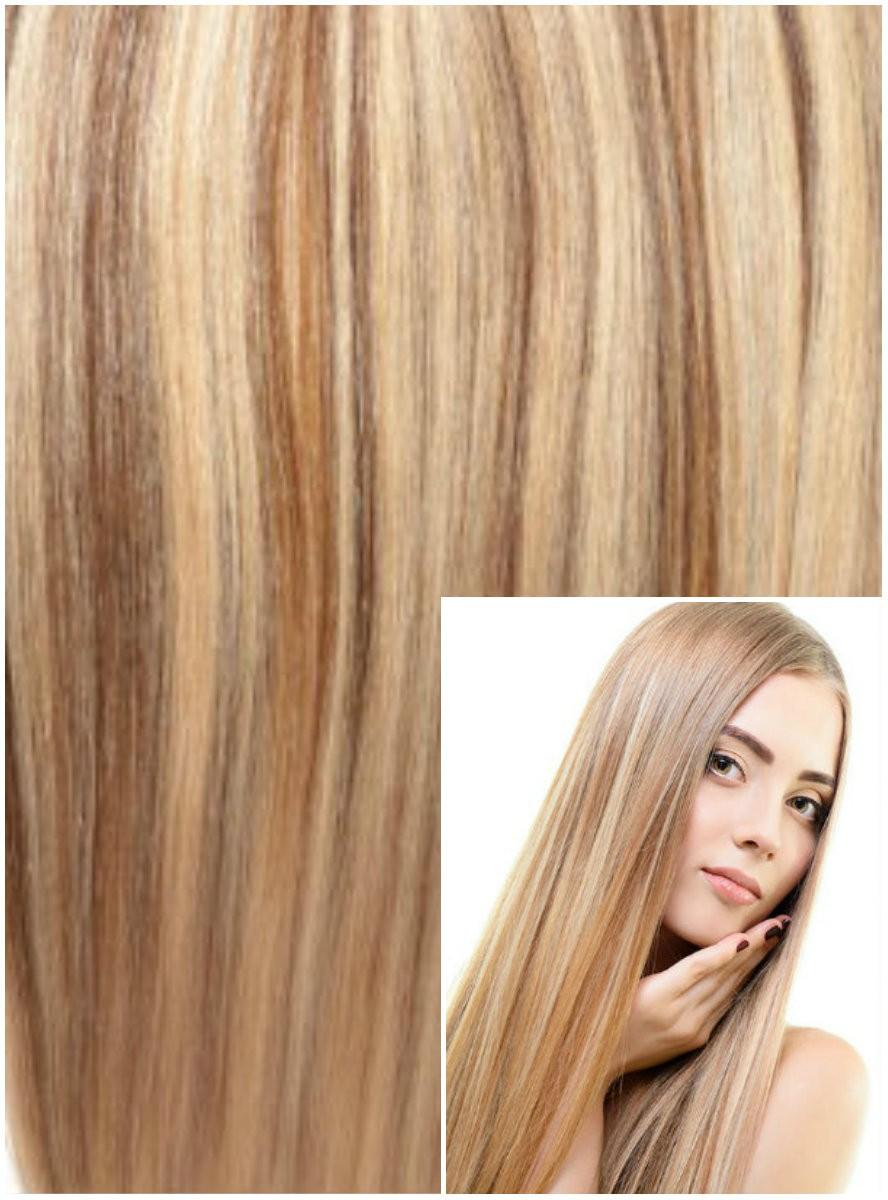 DELUXE Clip in 60cm 240g REMY lidské vlasy - SVĚTLÝ MELÍR